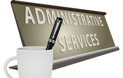 Table plate office for Administrative Services. Vector illustration.
